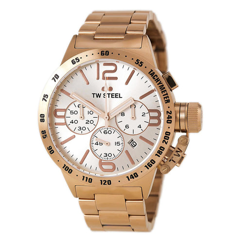 TW Steel CB163 Men's Canteen Bracelet Silver Dial Rose Gold Steel Chronograph Watch