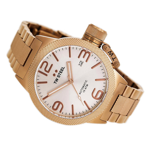 TW Steel CB165 Men's Canteen Bracelet Silver Tone Dial Rose Gold Steel Automatic Watch