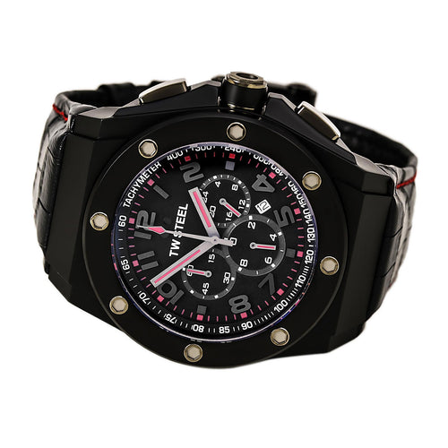 TW Steel CE4009 Men's CEO Tech Black Dial Black Leather Strap Chronograph Watch