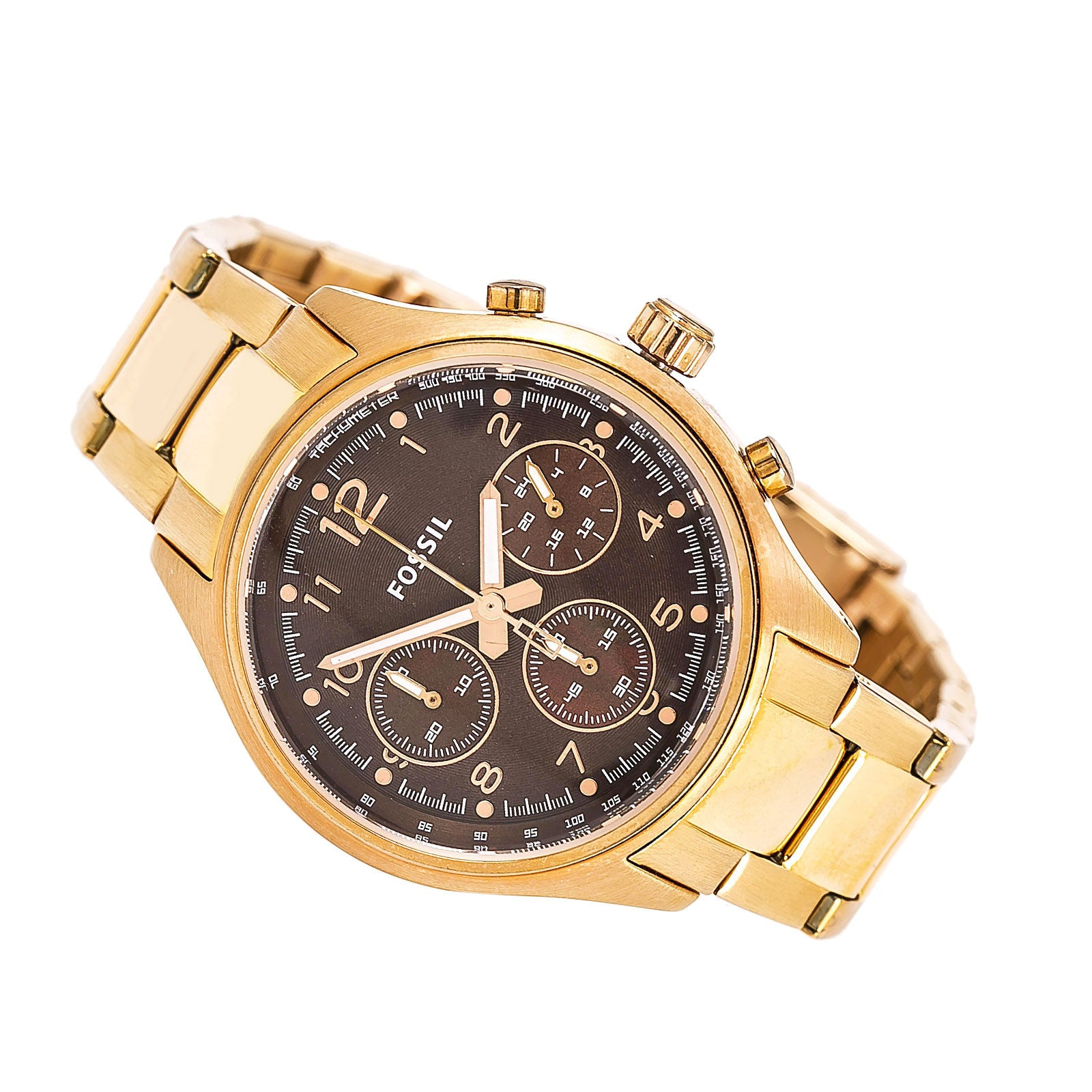 Fossil CH2793 Women's Flight Brown Dial Rose Gold Plated Steel Bracelet Chronograph Watch
