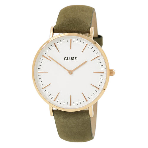 Cluse CL18023 Women's La Boheme White Dial Olive Green Leather Strap Watch