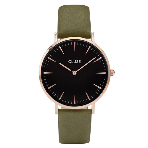 Cluse CL18024 Women's La Boheme Black Dial Olive Green Leather Strap Watch