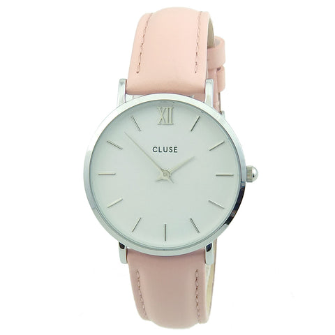 Cluse CL30003 Women's Minuit White Dial Black Leather Strap Watch