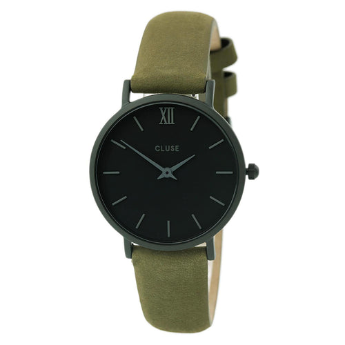 Cluse CL30007 Women's Minuit Black Dial Black IP Steel Olive Green Leather Strap Watch