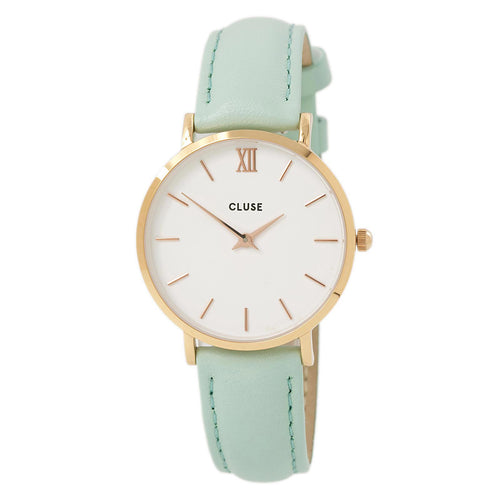 Cluse CL30017 Women's Minuit White Dial Rose Gold Steel Pastel Mint Leather Strap Watch