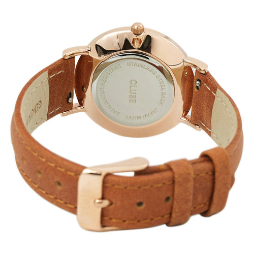 Cluse CL30021 Women's Minuit White Dial Rose Gold Steel Caramel Leather Strap Watch