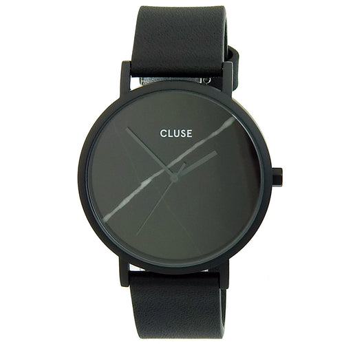 Cluse CL40001 Women's La Roche Black Real Marble Dial Black IP Steel Black Leather Strap Watch