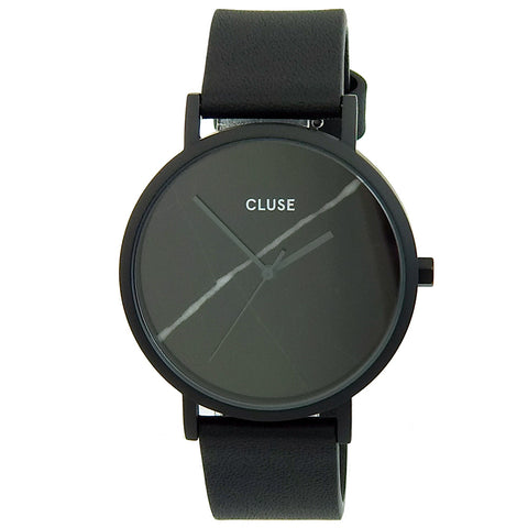 Cluse CL18411 Women's La Boheme Black Dial Yellow Gold Steel Grey Leather Strap Watch