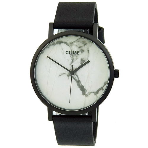 Cluse CL40002 Women's La Roche White Real Marble Dial Black IP Steel Black Leather Strap Watch