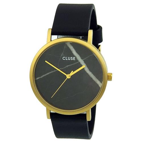 Cluse CL40004 Women's La Roche Black Real Marble Dial Yellow Gold Steel Leather Strap Watch