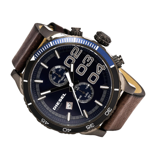 Diesel DZ4312 Men's Double Down 48 Navy Blue Dial Brown Leather Strap Chronograph Watch