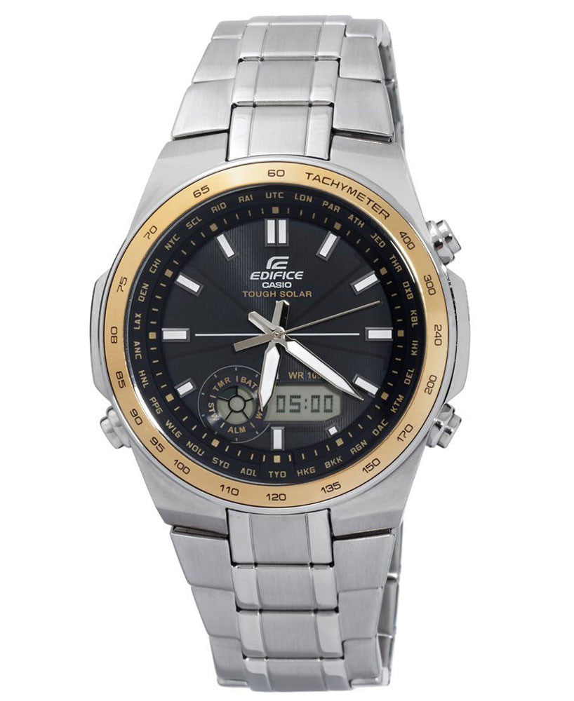 Casio EFA134SB-1A9 Men's Edifice Solar Powered Yellow Gold SS Black Dial Watch