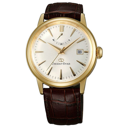 Orient EL05001S Unisex Classic Champagne Dial Brown Leather Strap Power Reserve Automatic Watch