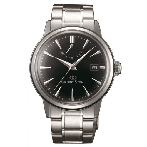 Orient EL05002B Unisex Classic Black Dial Steel Bracelet Power Reserve Automatic Watch