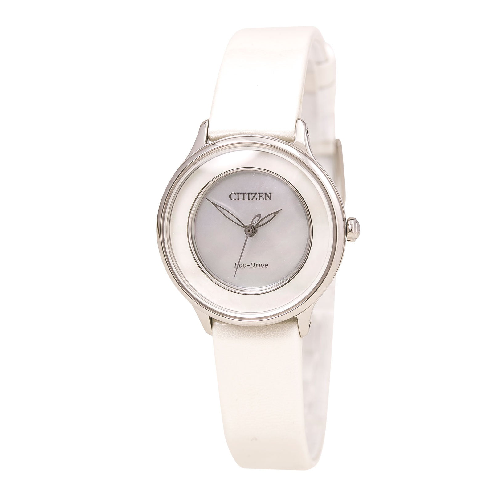 Citizen EM0381-03D Women's L Circle of Time Eco-Drive White MOP Dial White Leather Strap Watch