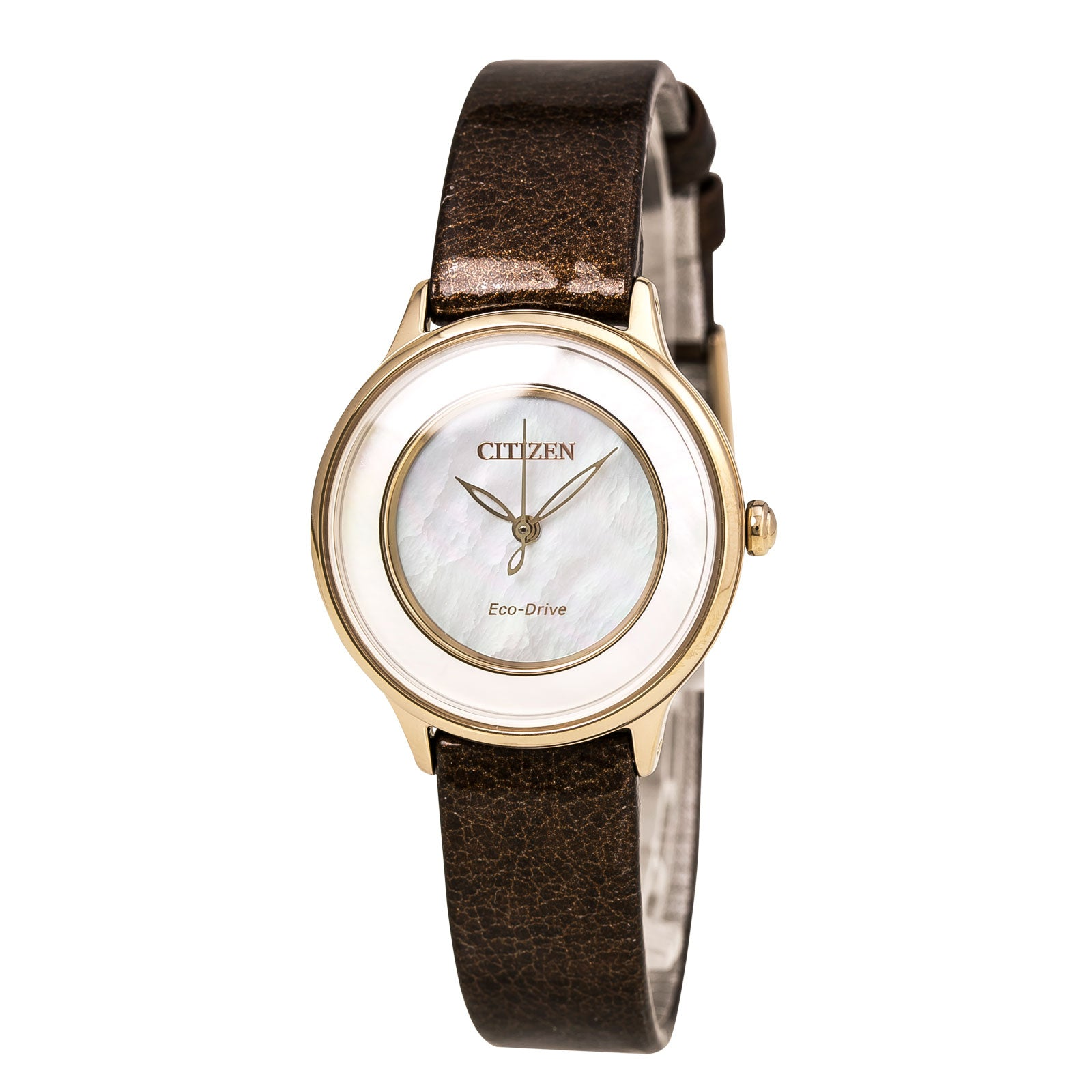 Citizen EM0383-08D Women's L Circle of Time Eco-Drive White MOP Dial Brown Leather Strap Watch