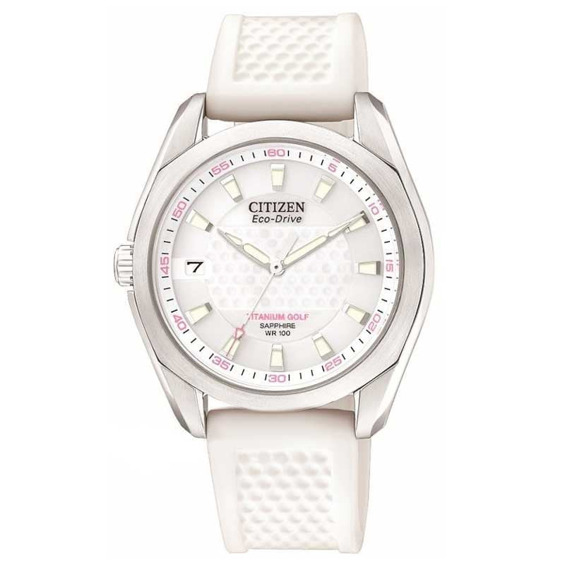 Citizen EO1070-05A Women's Eco-Drive Titanium Golf White Dial Polyurethane Rubber Strap Watch