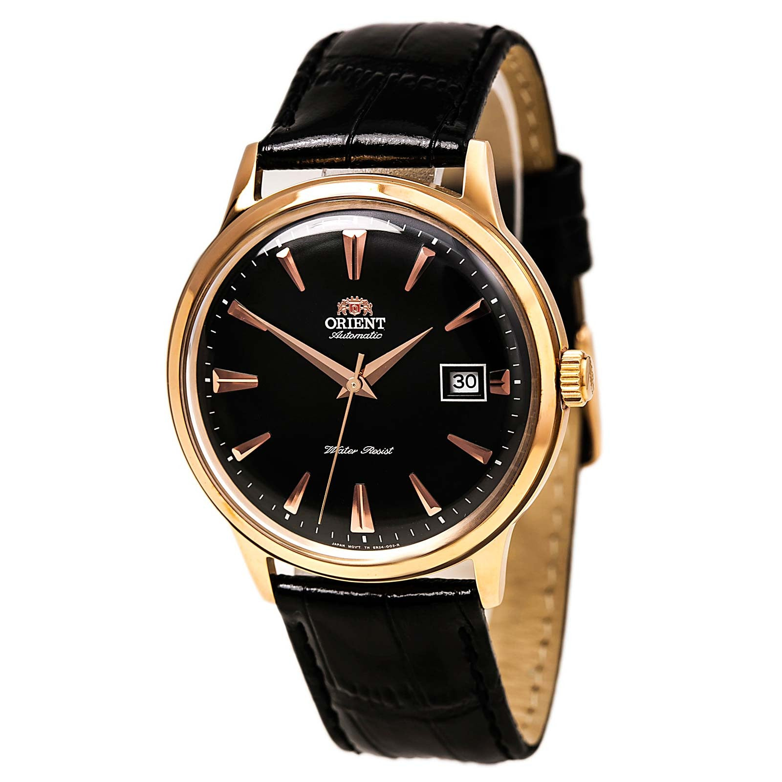 Orient ER24001B Men's Bambino Automatic Black Dial Rose Gold Tone Leather Strap Mechanical Watch
