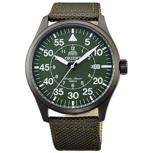 Orient ER2A007F Men's Flight Green Dial Olive Green Nylon Strap Power Reserve Automatic Watch