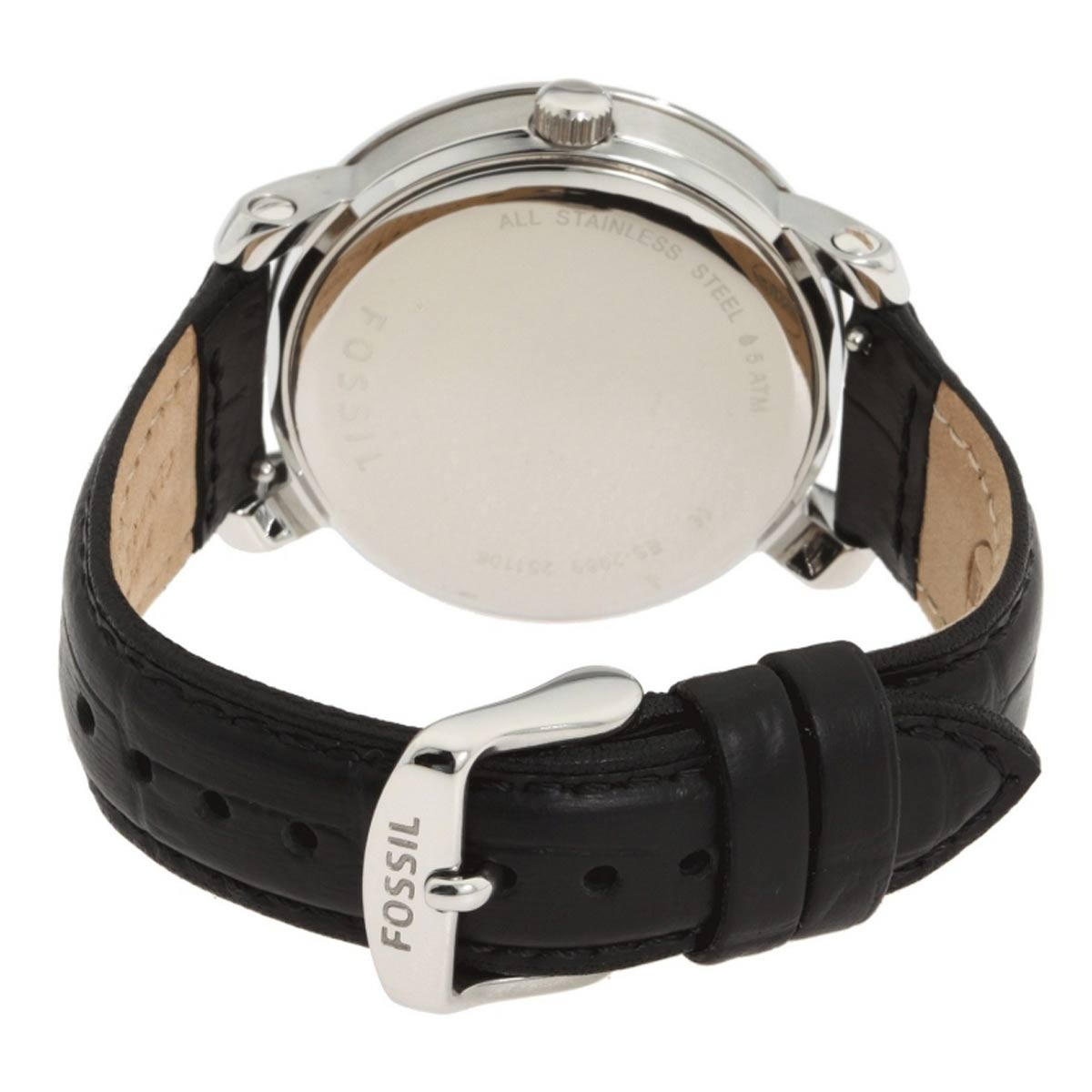 Fossil ES2969 Women's Boyfriend Crystal Accented Bezel White MOP Dial Black Leather Strap Watch