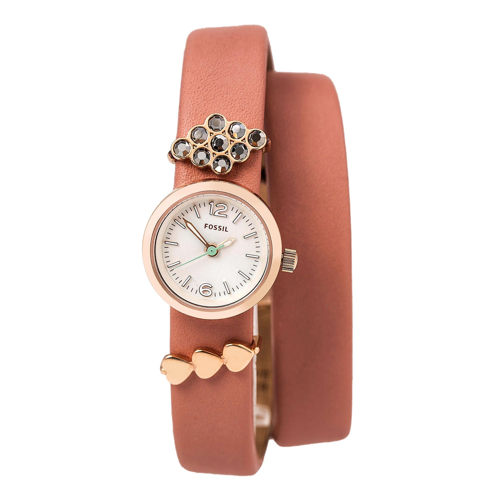 Fossil ES4002SET Women's Georgia White Dial Pink Leather Strap Charm Slider Watch Set