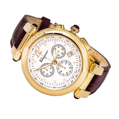Ferragamo F77LCQ5091SB42 Men's Idillio Silver Dial Yellow Gold Steel Brown Leather Strap Chronograph Watch