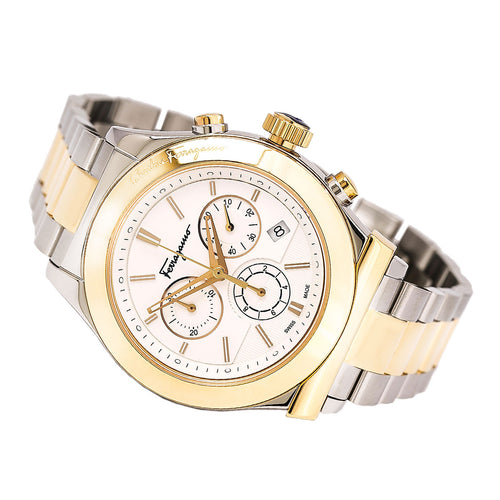 Ferragamo F78LCQ9501S095 Men's White Dial Two Tone Steel Chronograph Watch
