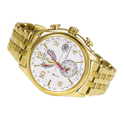 Citizen FC0002-53A Women's World Time A-T Eco-Drive White Dial Gold Tone Stainless Steel Atomic Watch