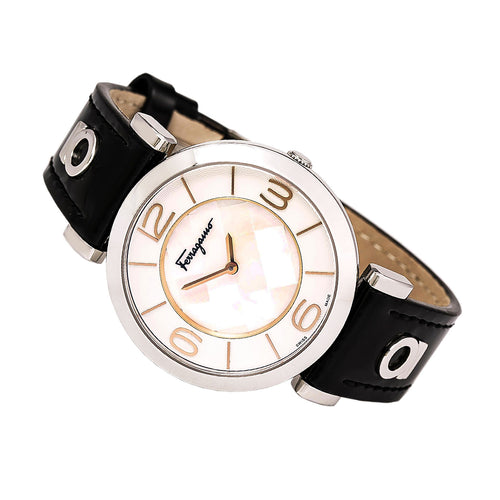 Ferragamo FG3020014 Women's Gancino Deco MOP Dial Black Leather Strap Watch