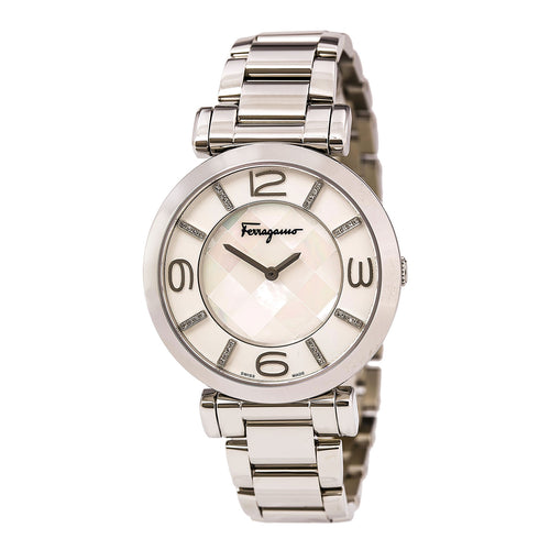 Ferragamo FG3050014 Women's Gancino Deco Diamond Accented MOP Dial Steel Bracelet Watch