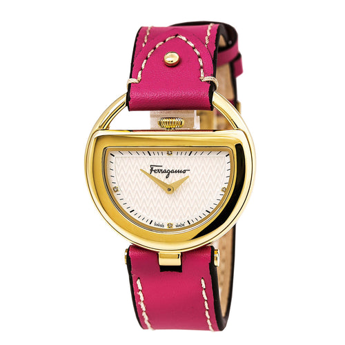 Ferragamo FG5050014 Women's Buckle Diamond Accented Silver Dial Pink Leather Strap Watch