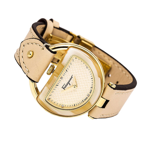Ferragamo FG5070014 Women's Buckle Diamond Accented Beige Dial Beige Leather Strap Watch