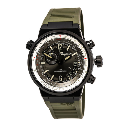 Ferragamo FQ2010013 Men's F-80 Grey Dial Black IP Steel Green Rubber Strap Chronograph Watch