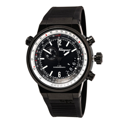 Ferragamo FQ2020013 Men's F-80 Black Dial Black IP Steel Black Rubber Strap Chronograph Watch