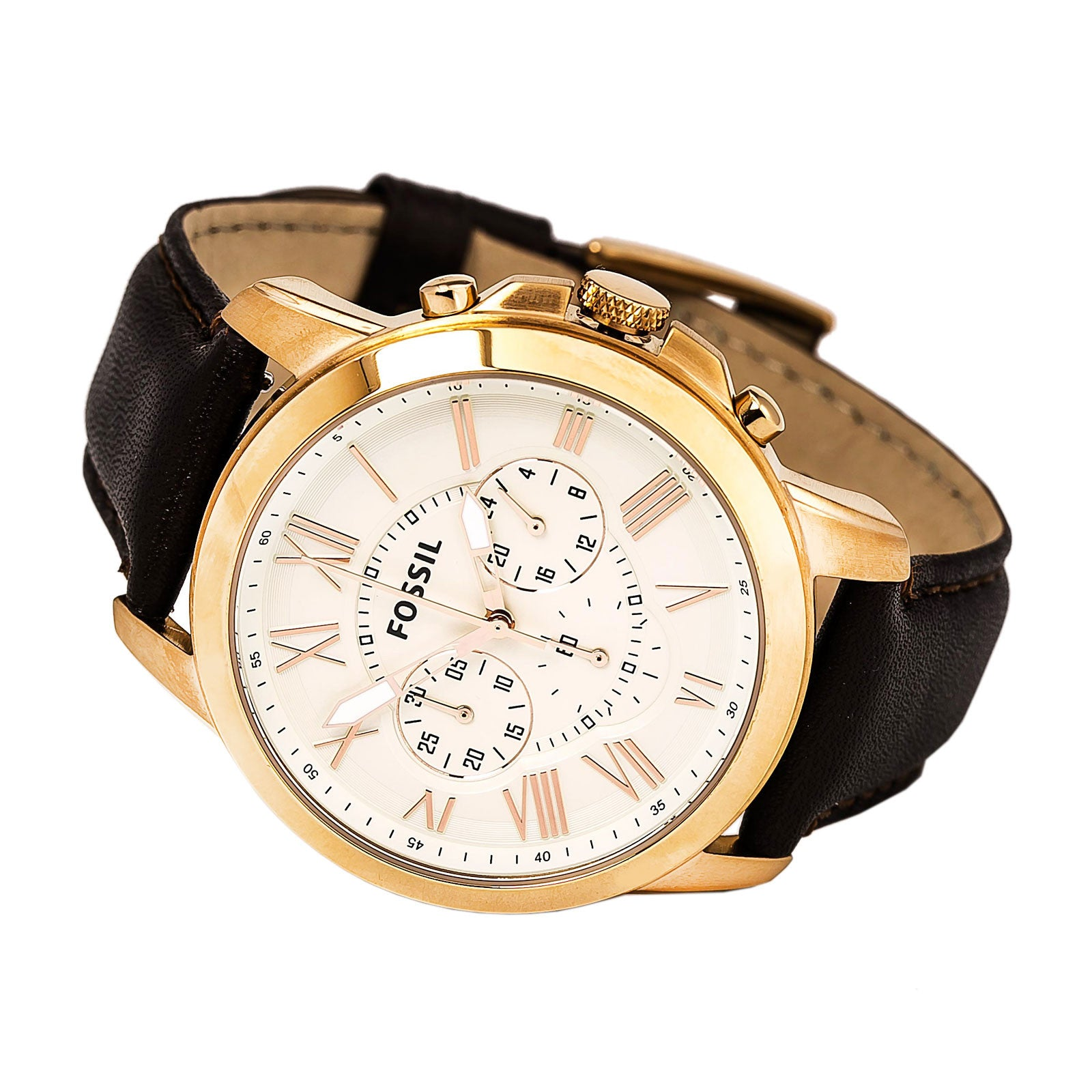 Fossil FS4991 Men's Grant Chronograph Cream Dial Brown Leather Strap Watch