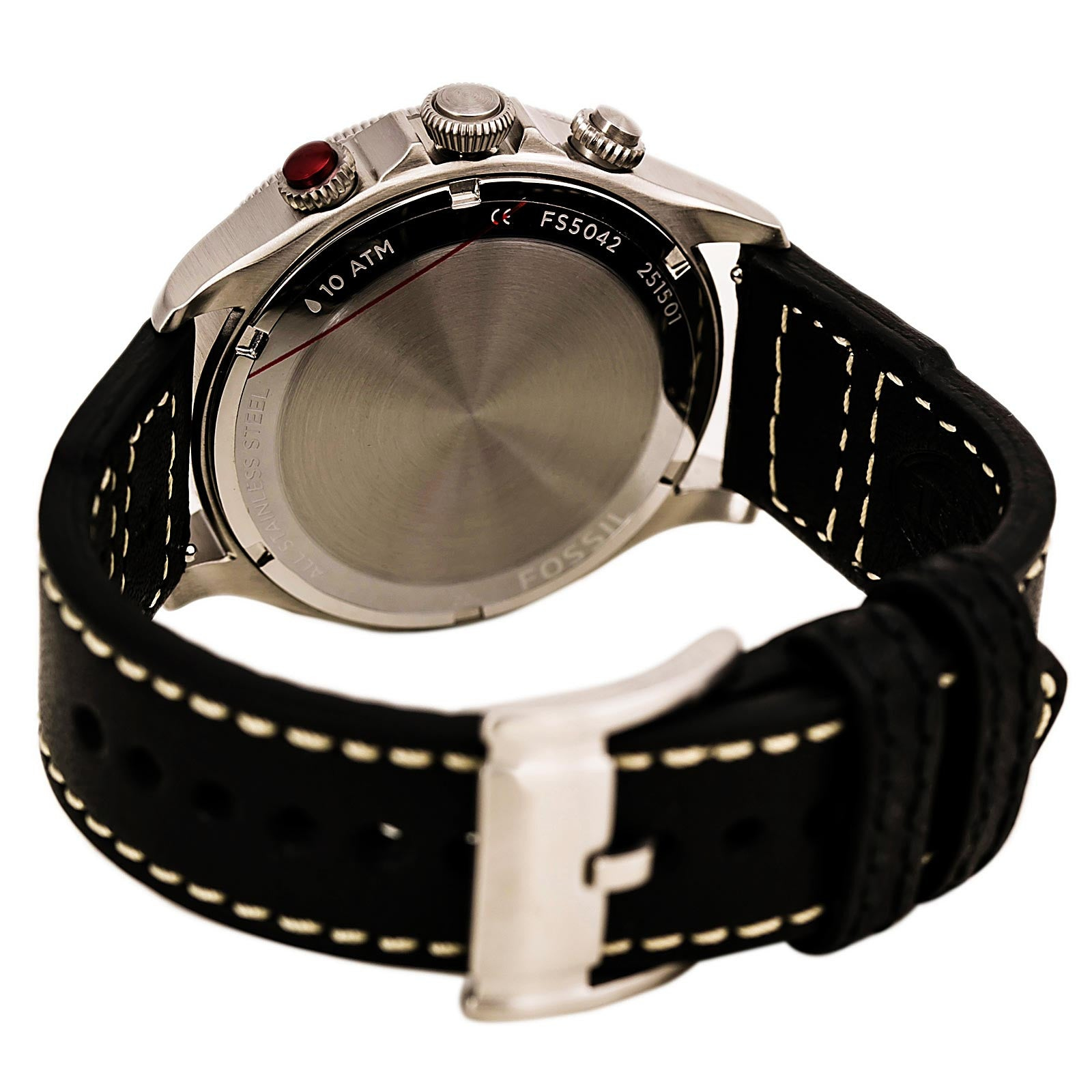 Fossil FS5042 Men's Recruiter Black Dial Black Leather Strap Multifunction Alarm GMT Watch