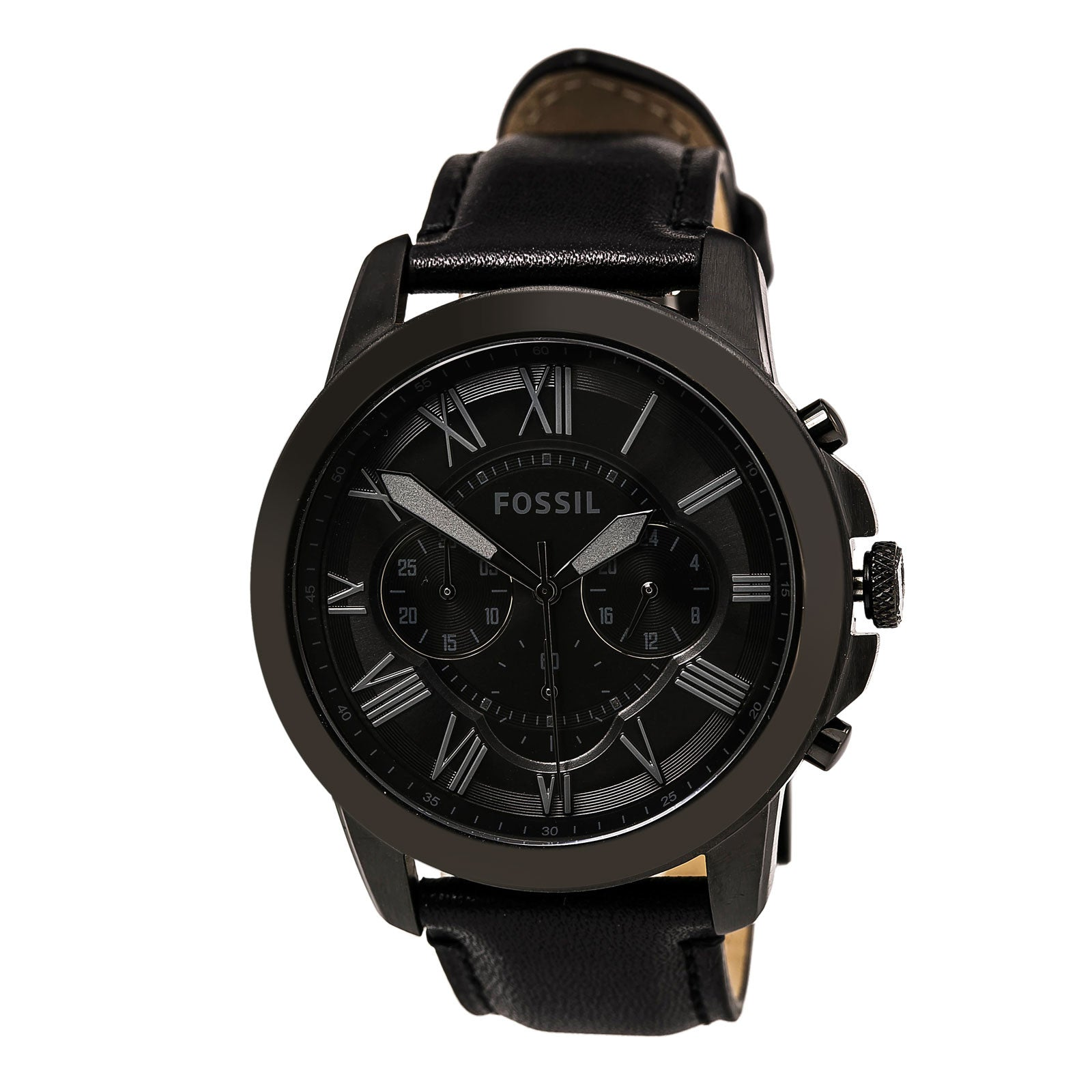 Fossil FS5147SET Men's Grant Black Dial Leather Strap Chronograph Watch & Bracelet Set