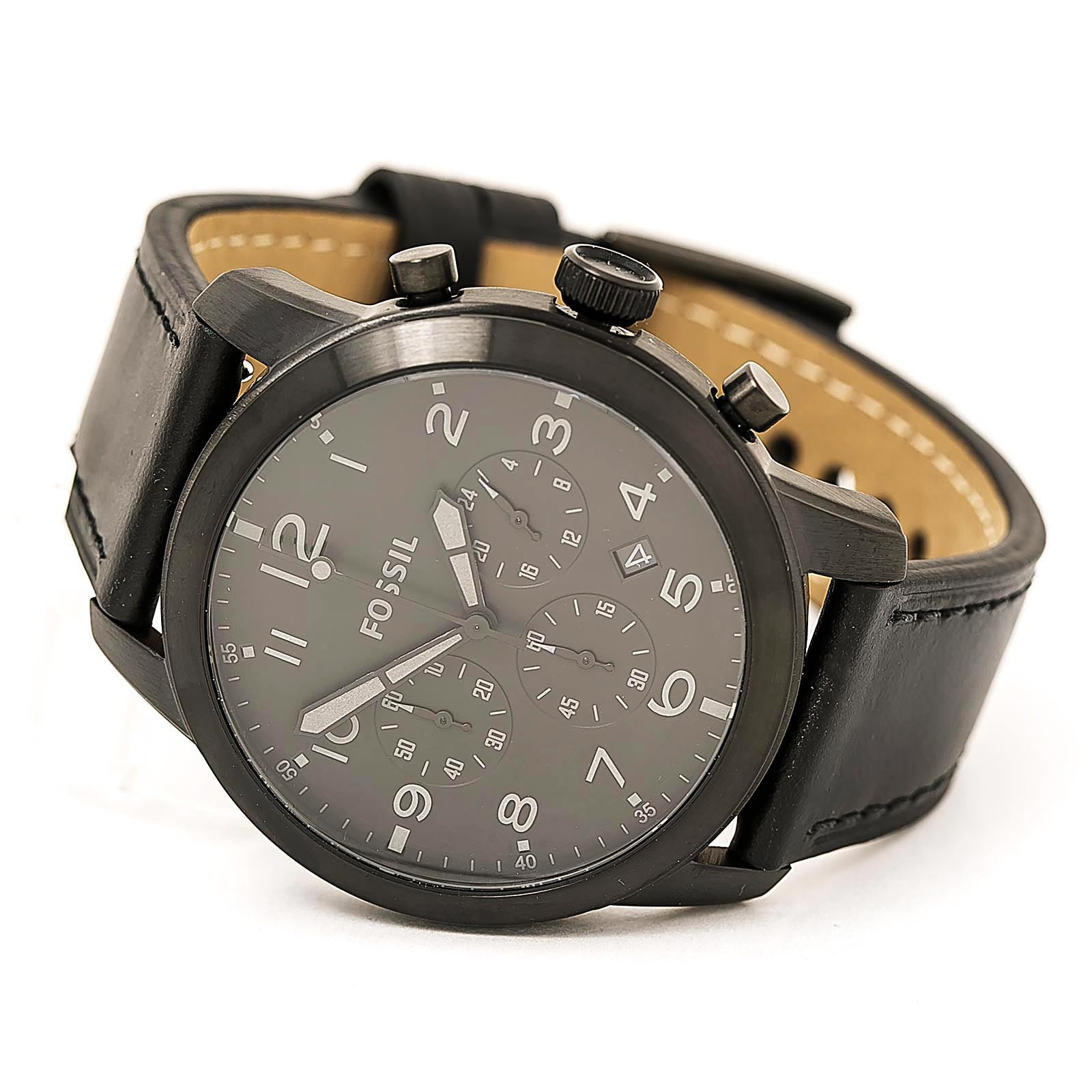 Fossil FS5157 Men's Pilot 54 Chronograph Black Dial Black Leather Strap Watch