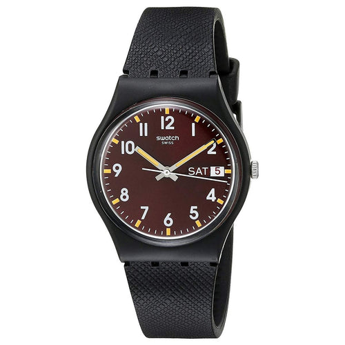 Swatch GB753 Unisex Sir Red Brown Dial Black Silicone Strap Watch
