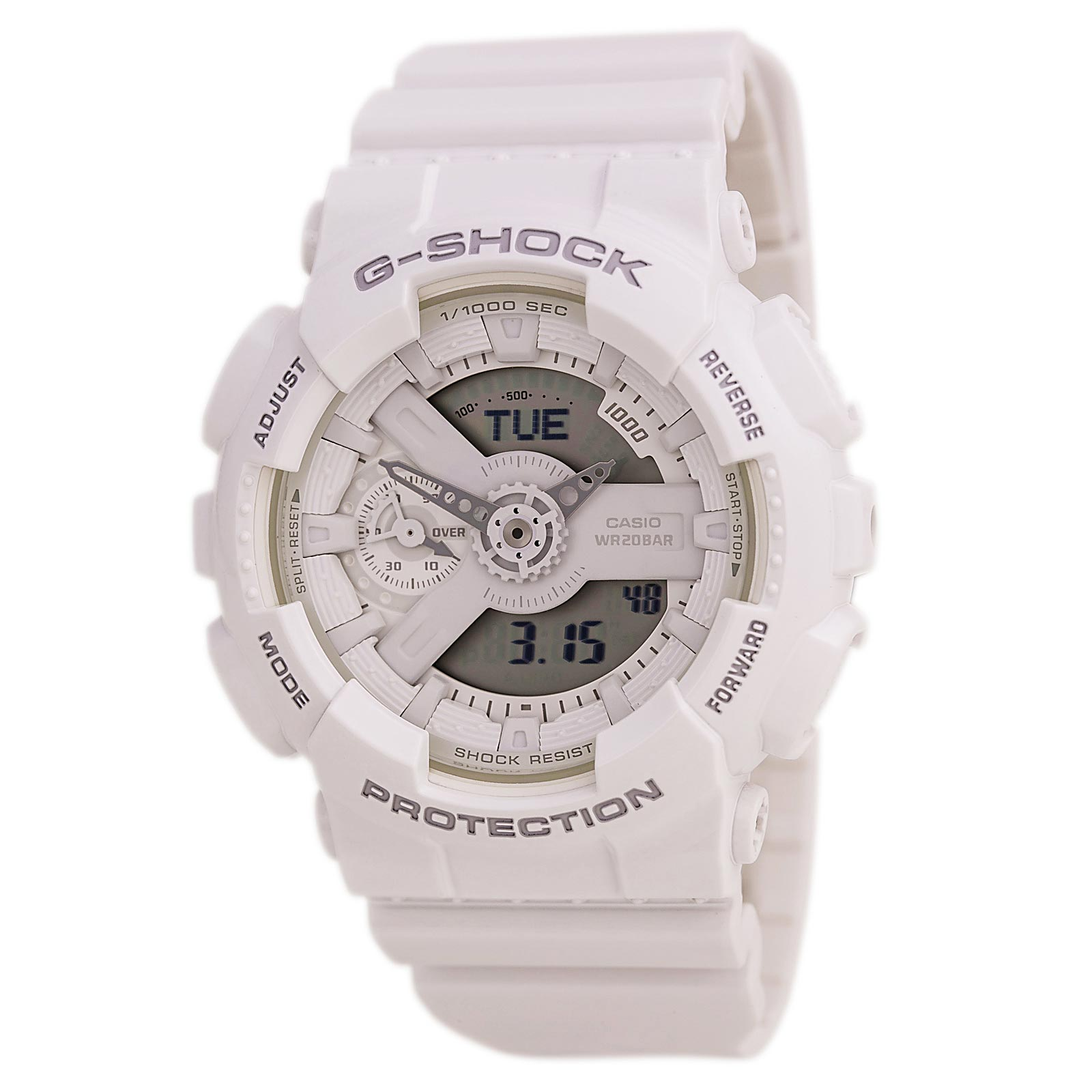 Casio GMAS110CM-7A1 Men's G-Shock S Series Ana-Digi Dial World Time White Resin Dive Watch