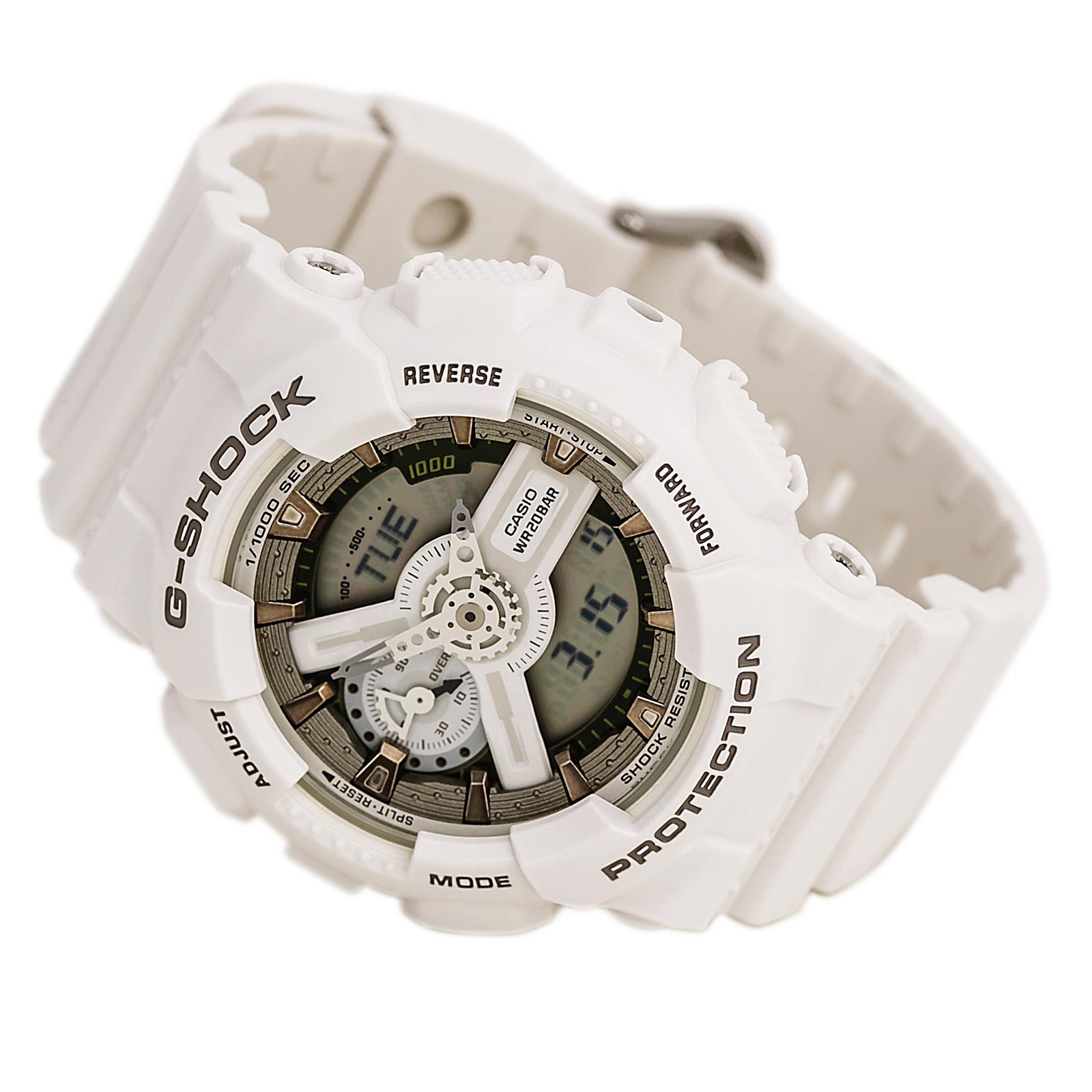 Casio GMAS110CM-7A2 Men's G-Shock S Series Ana-Digi Dial White Resin World Time Dive Watch