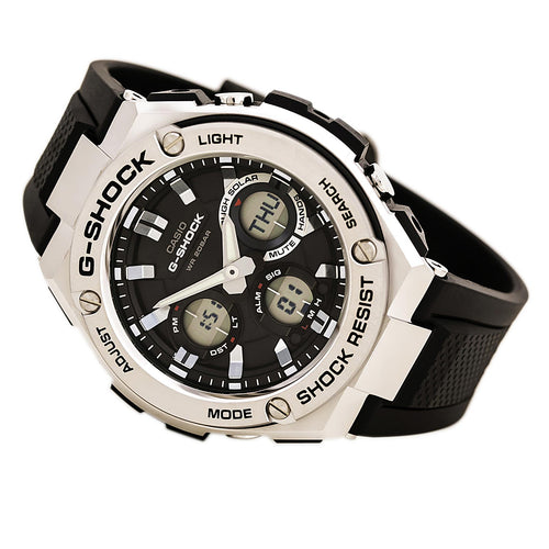 Casio GSTS110-1A Men's G-Shock World Time Ana-Digi Black Dial Black Resin Strap Dive Watch