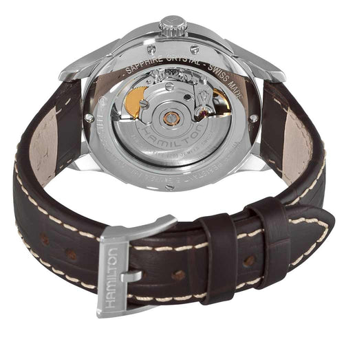 Hamilton H32455557 Men's JazzMaster Viewmatic Brown Leather Strap Black Dial Watch