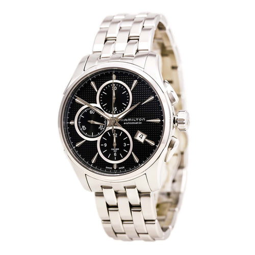 Hamilton H32596131 Men's Jazzmaster Black Textured Dial Steel Bracelet Automatic Chrono Watch
