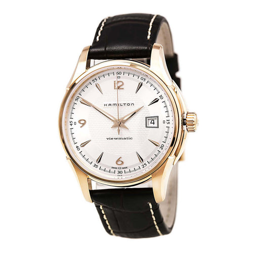 Hamilton H32645555 Men's Jazzmaster Viewmatic Silver Dial Black Leather Strap Automatic Watch