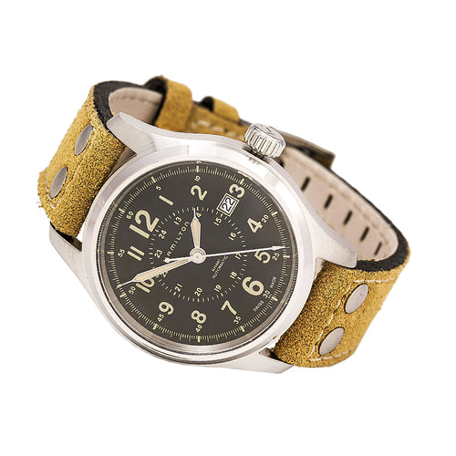 Hamilton H70595593 Men's Khaki Field Automatic Leather Strap Black Dial Brown Watch