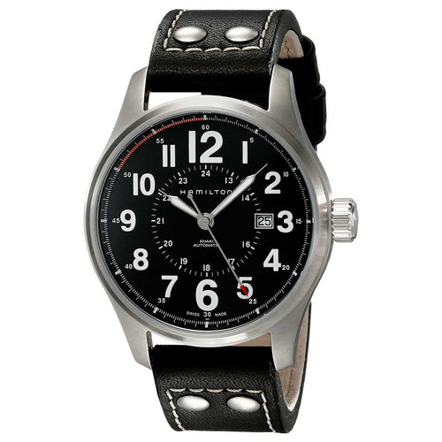 Hamilton H70615733 Men's Khaki Field Officer Black Dial Black Leather Strap Automatic Watch