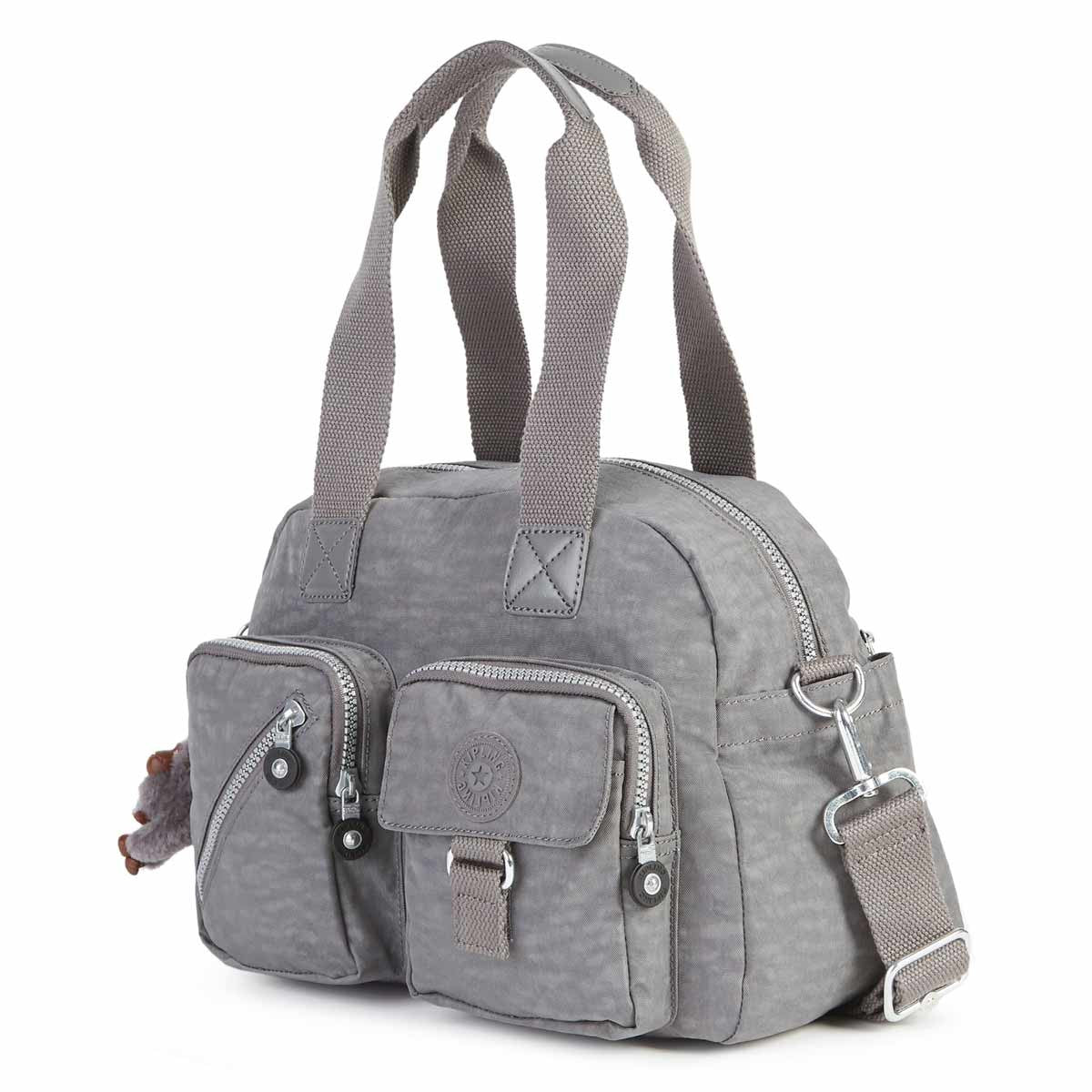 Kipling HB3170-021 Women's Defea Dusty Grey Nylon Crossbody Satchel