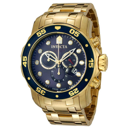Invicta 0073 Men's Pro Diver Gold Tone Stainless Steel Blue Dial Chronograph Watch