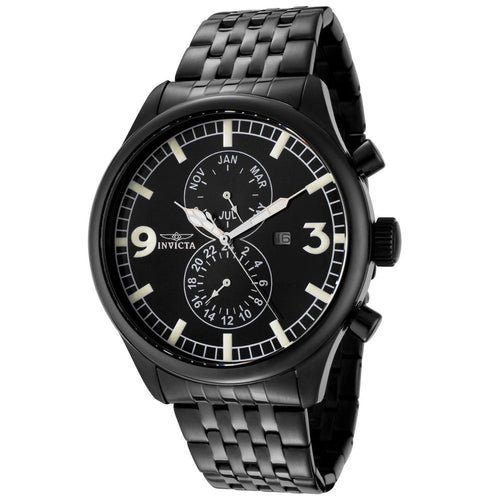 Invicta 0367 Men's Specialty Black Dial Black Ion Plated Stainless Steel Bracelet Watch